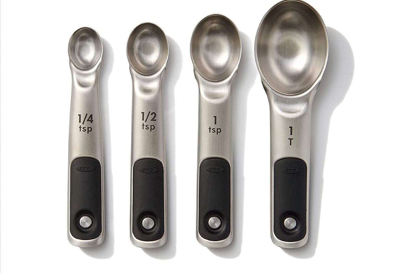 Four measuring spoons.