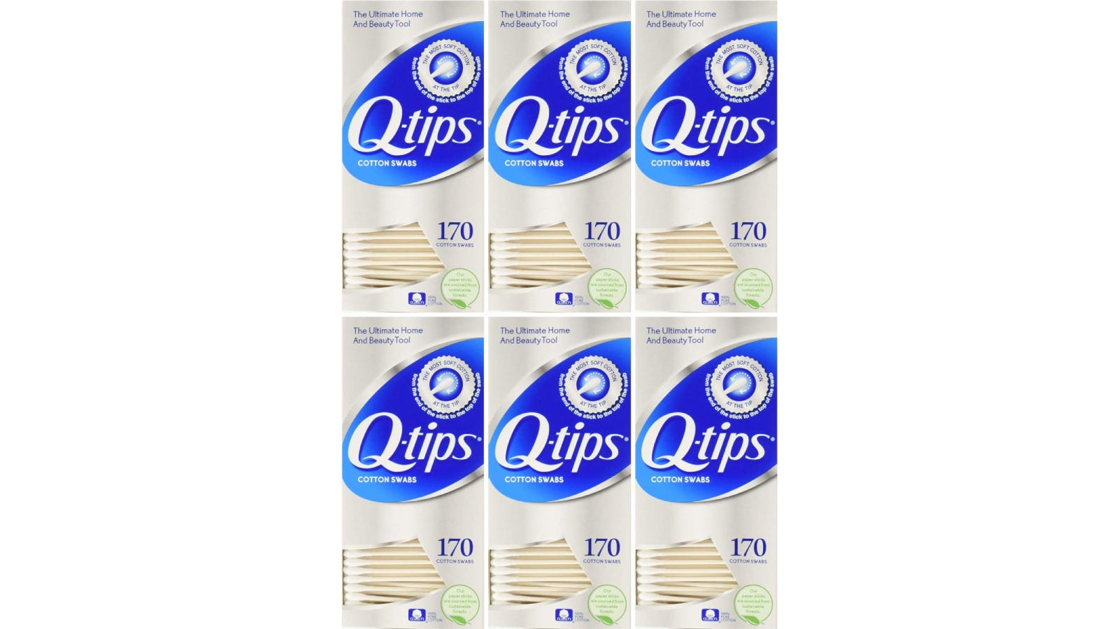 Six boxes of Q-tips cotton swabs.