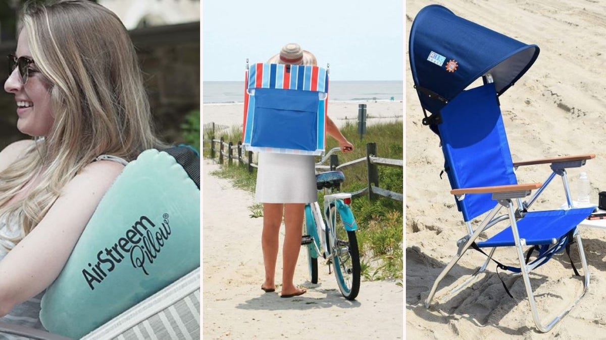 A woman resting against an AirStreem PIllow, a woman carrying a RIO Beach chair on her back as she walks a bicycle, and a RIO Beach MyCanopy attached to a chair.