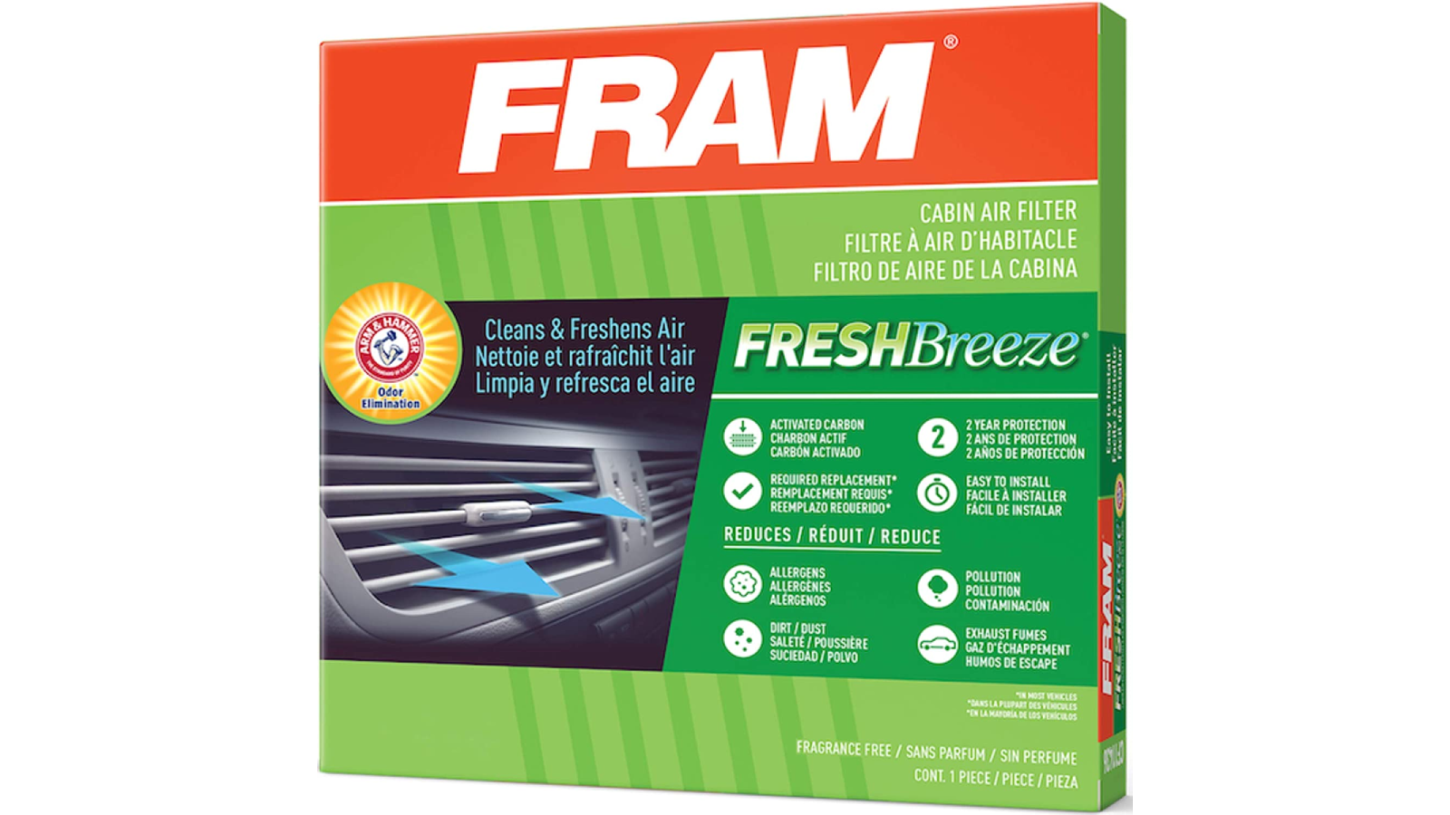 Image of front of FRAM car air filter package