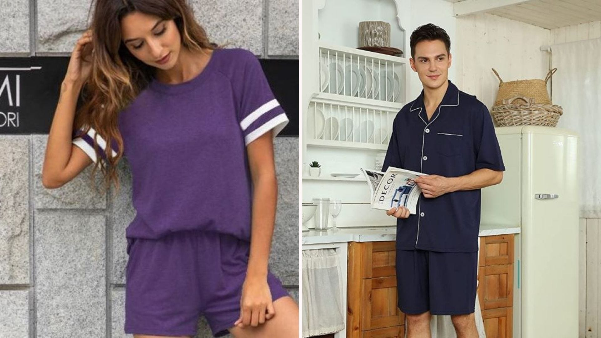 A woman wearing the LOLLO VITA Lounge Set in purple, and a man wearing navy blue U2SKIIN pajamas while holding a magazine in a kitchen.