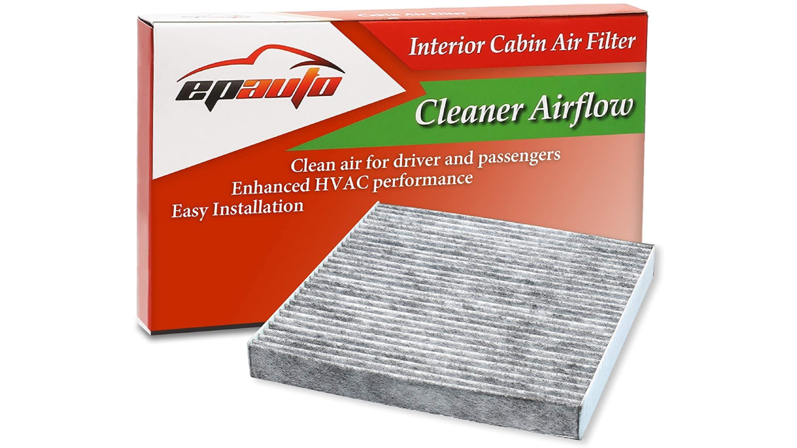 Image of product packaging and a car air filter on display in front.
