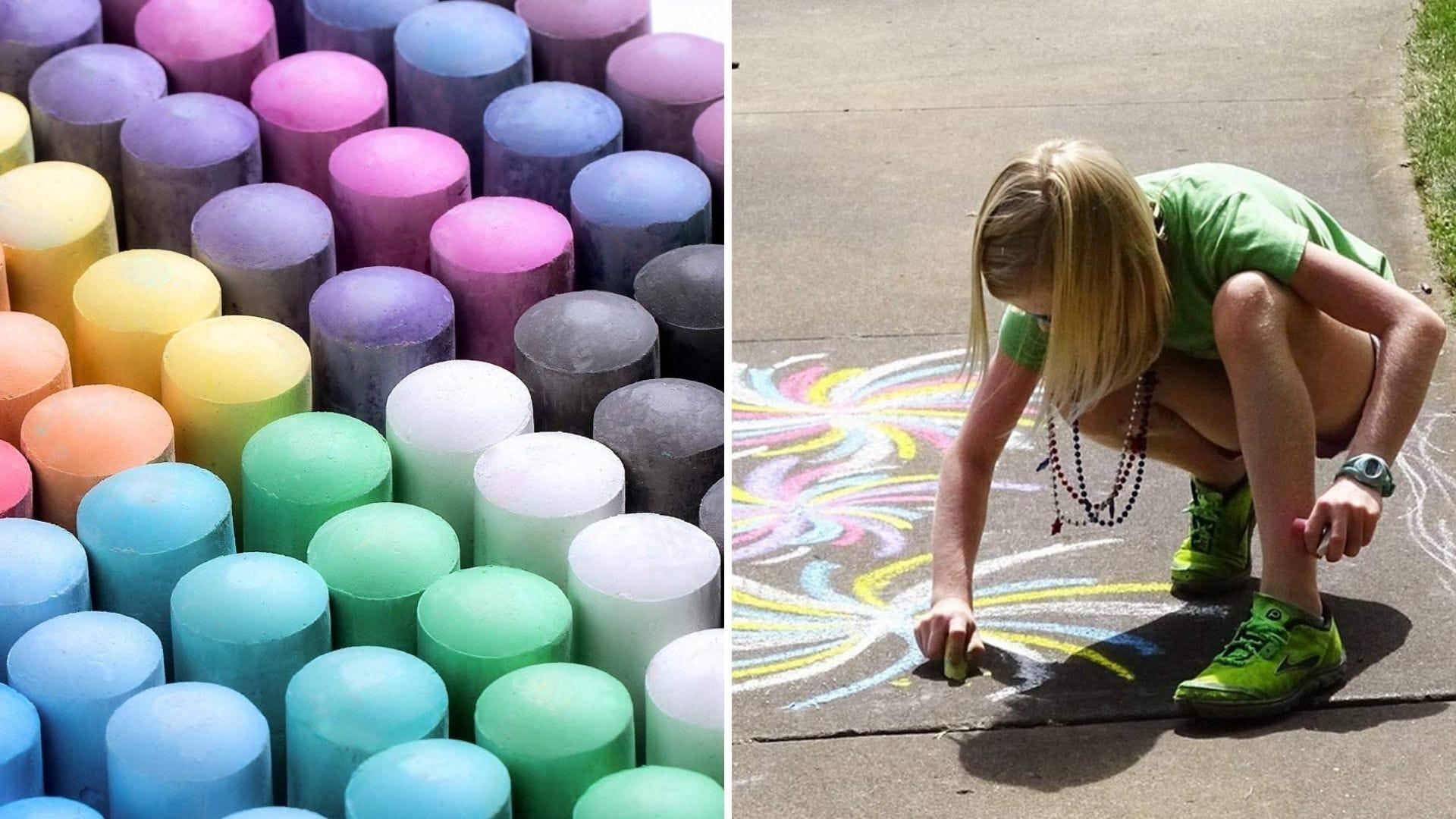 A large kit of sidewalk chalk and a girl draws with sidewalk chalk