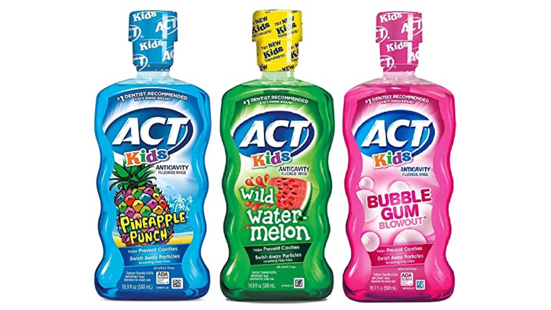 Blue, green, and pink ACT kids mouthwashes with large colorful labels.