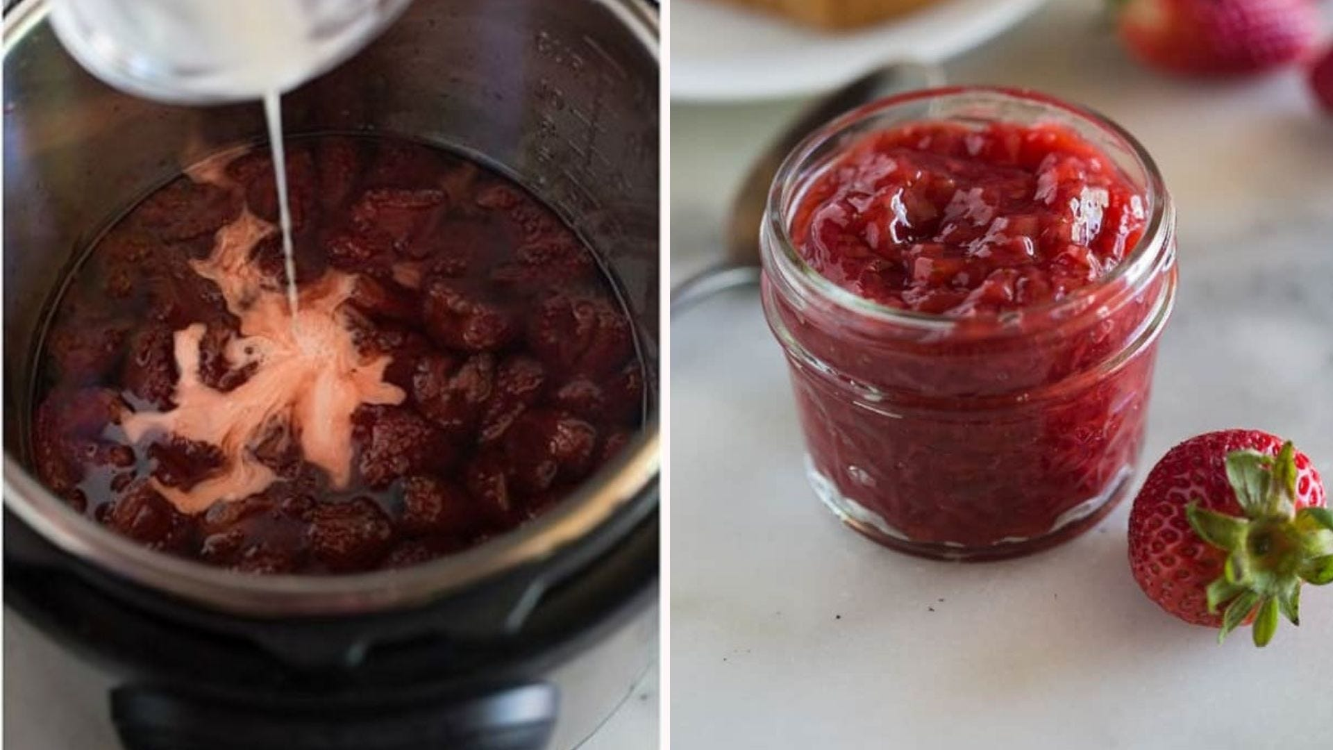 Strawberries, cornstarch, and water being mixed in an Instant Pot, and a jar full of strawberry jam.