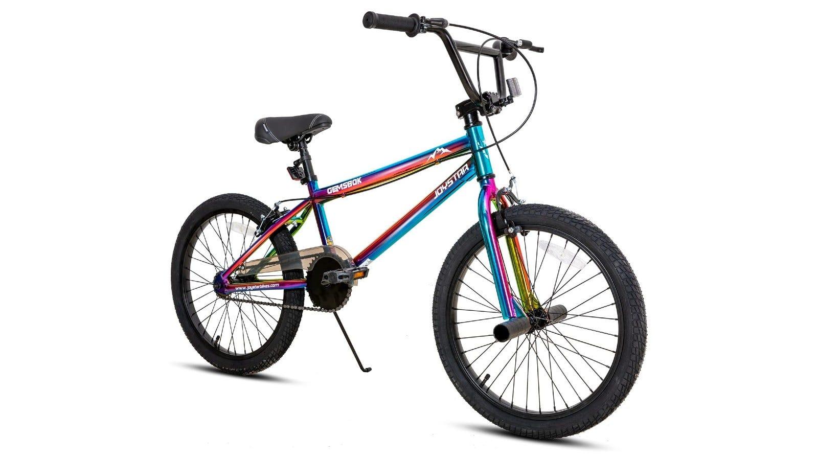 A BMX bike that features a rainbow paint job and handlebar brakes