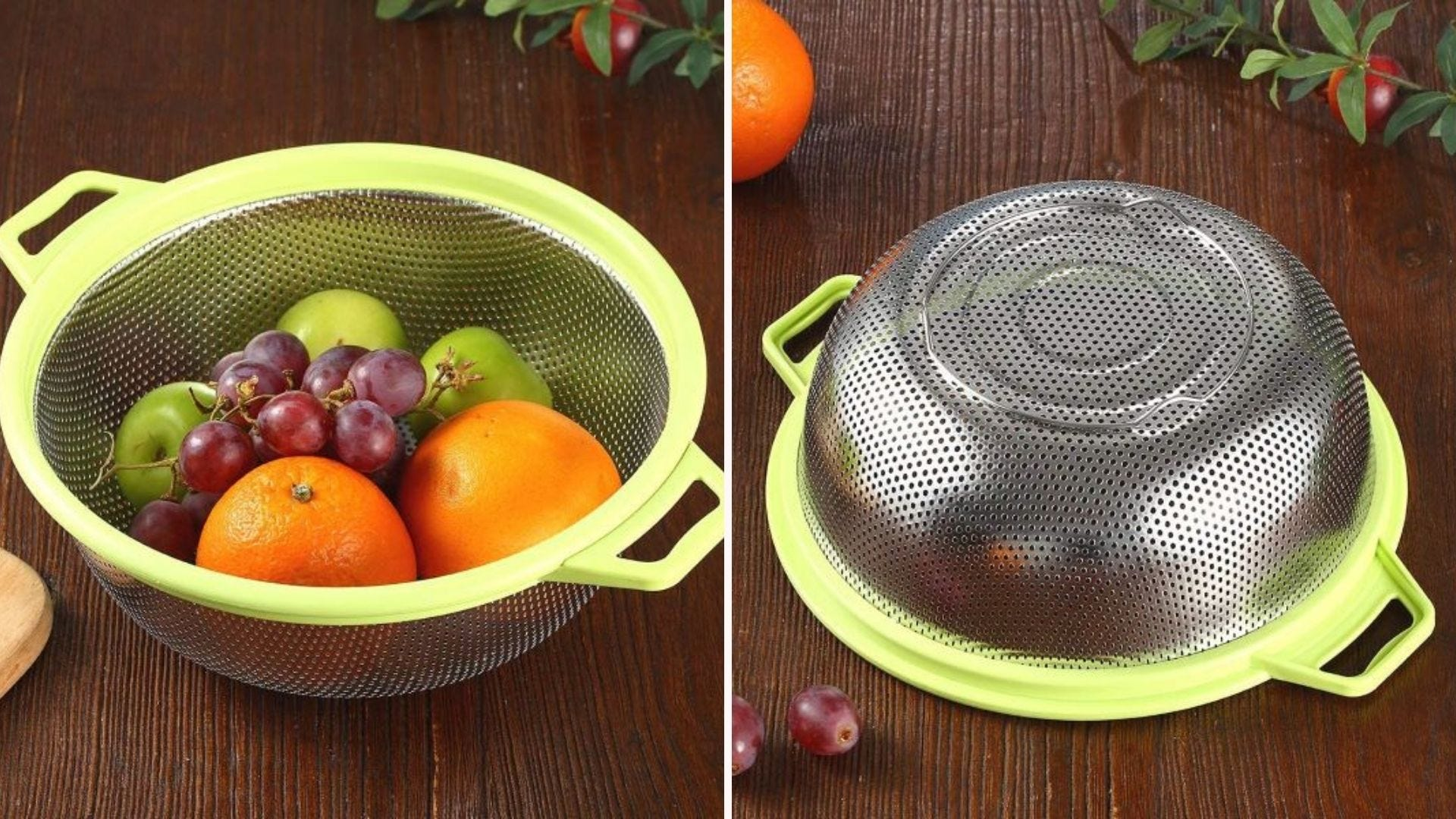 Stainless-Steel Colander with fruit in it.