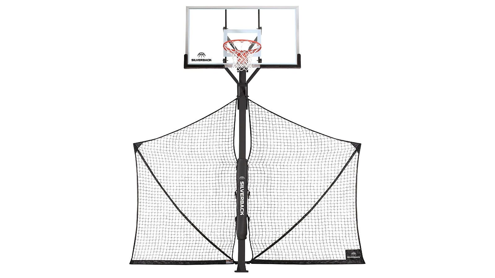 A basketball rebounder with a white and black net attached to the pole.