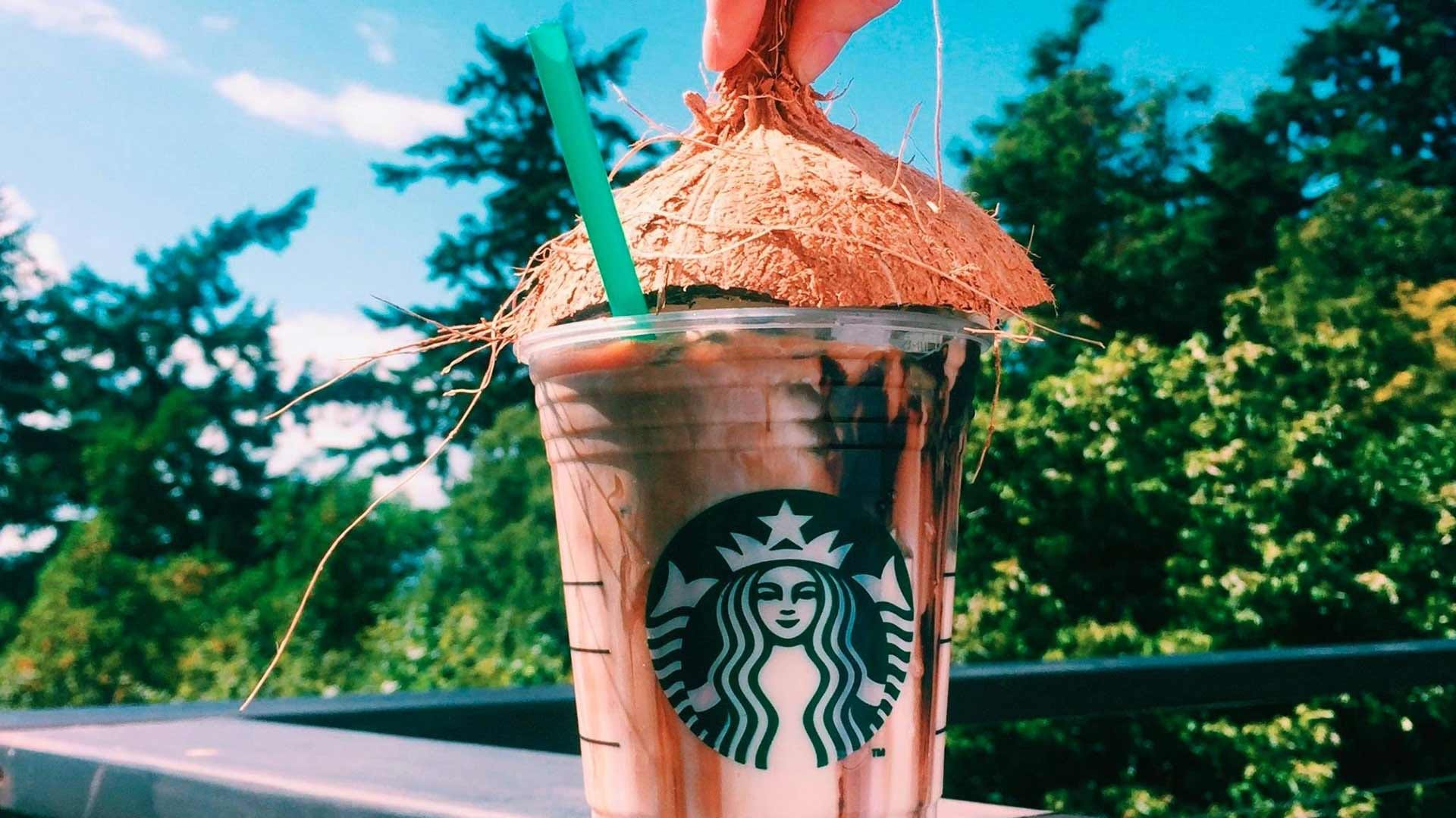 A Starbucks drink made with coconut milk.