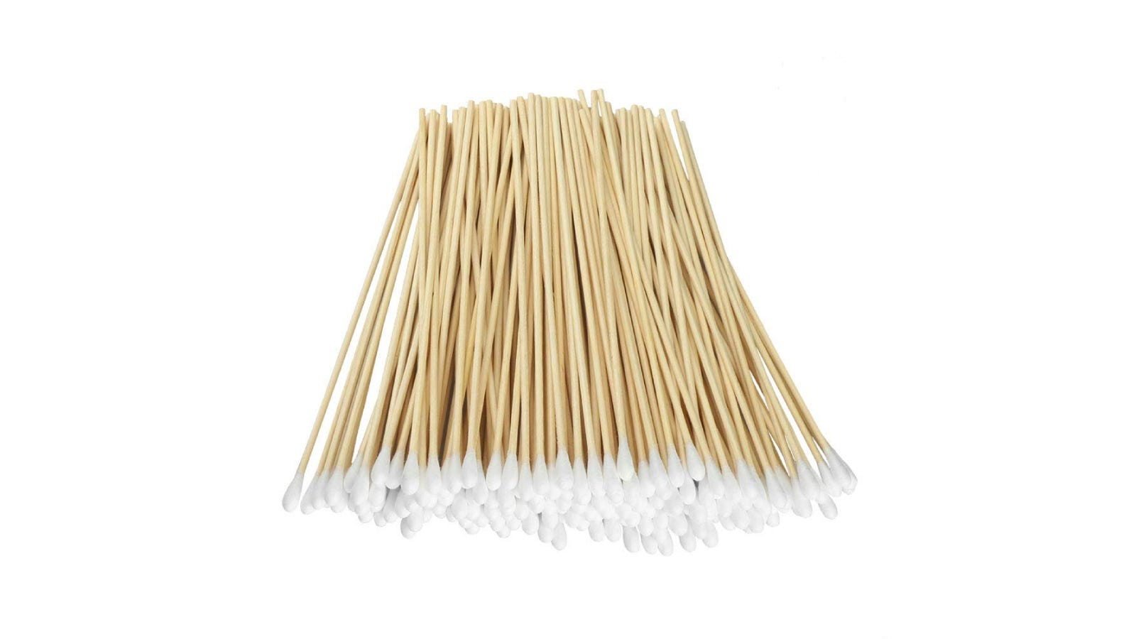 Long cotton swabs with wooden handles sitting in a pile.