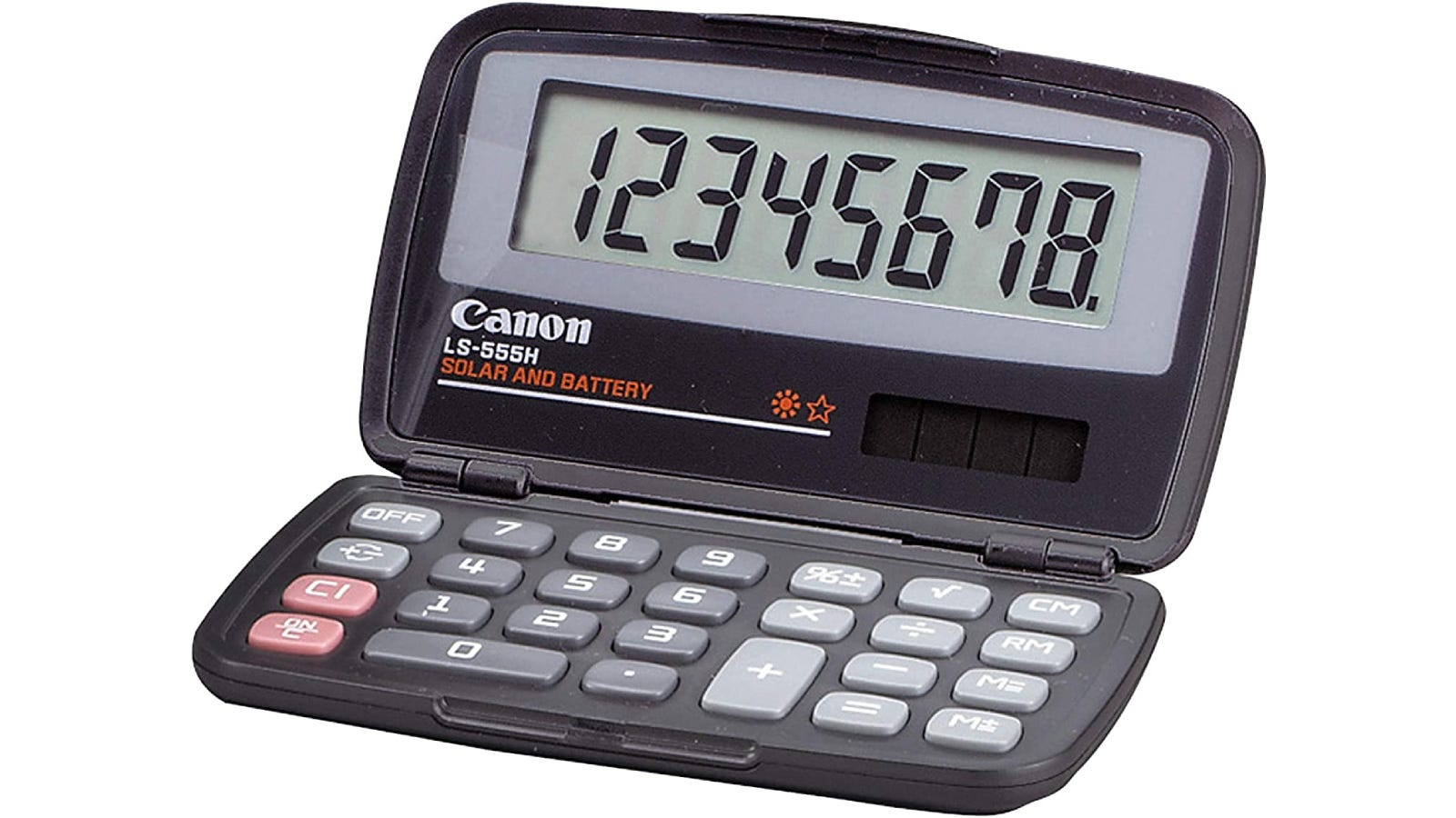 A foldable calculator with a one-line display.