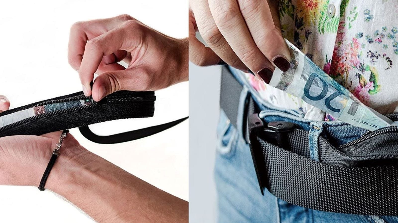 Two people putting money on the Travel Security Belt.