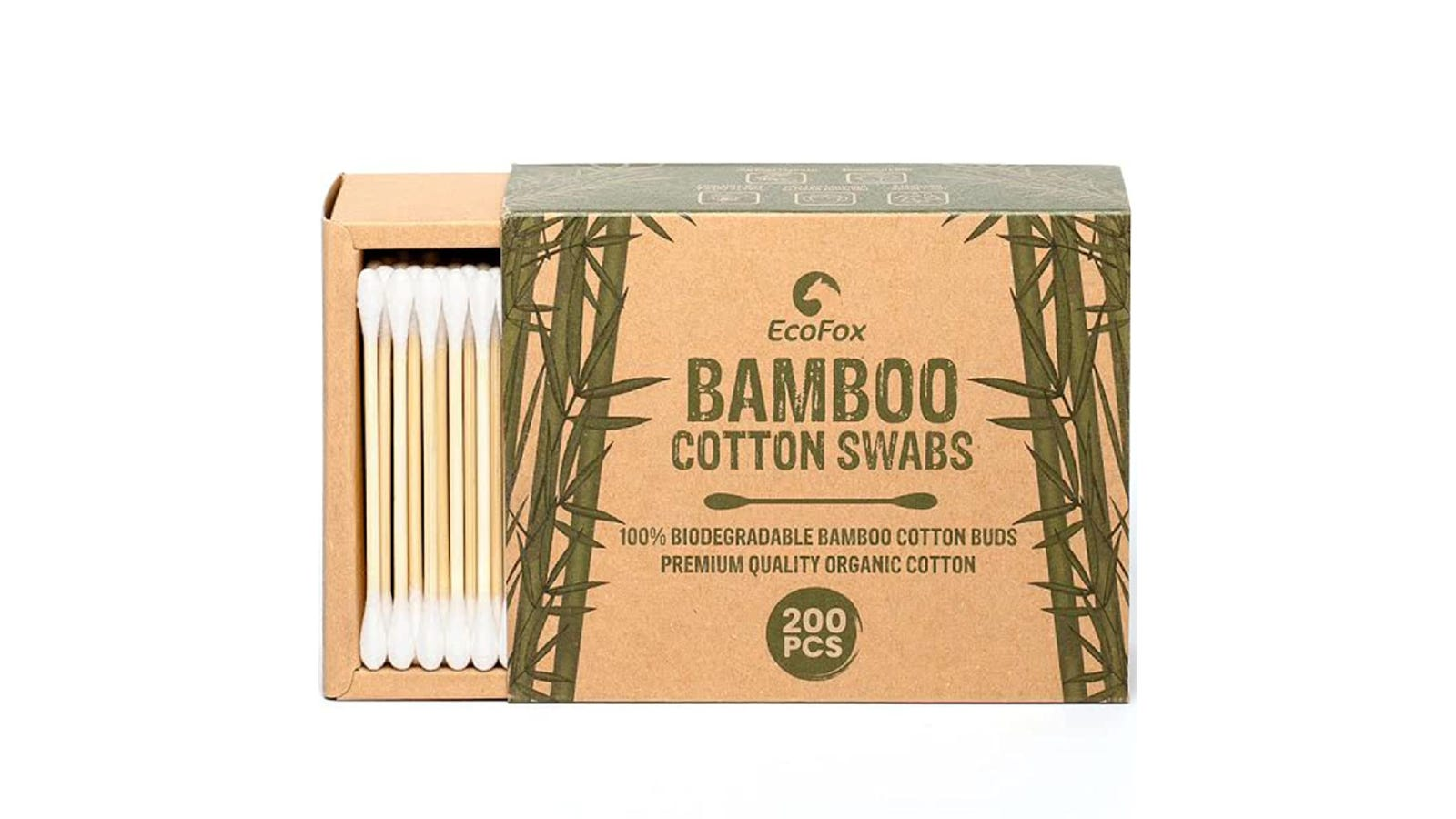 A set of cotton swabs shown inside the slide-out packaging that's decorated in bamboo illustrations.
