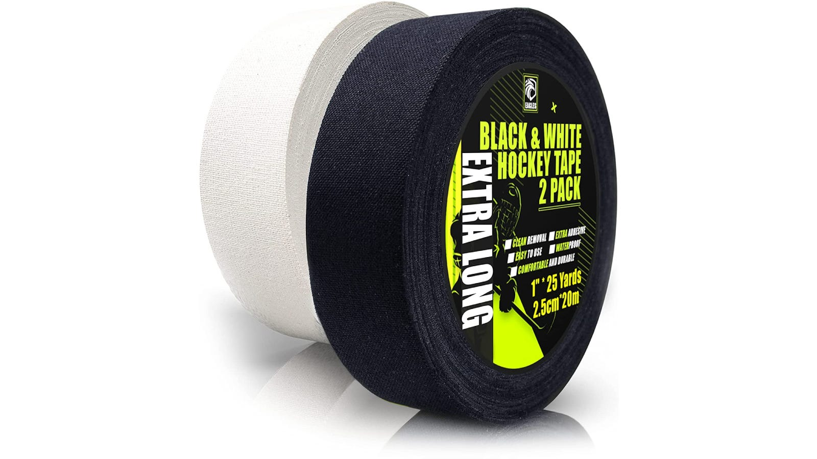 A black roll of hockey tape with green packaging sits in front of a white roll of tape.