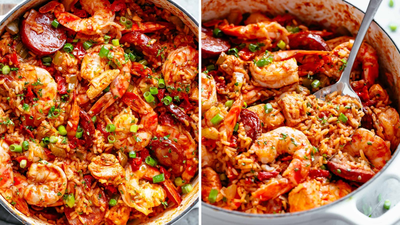 Two images of jambalaya by Cafe Delites.