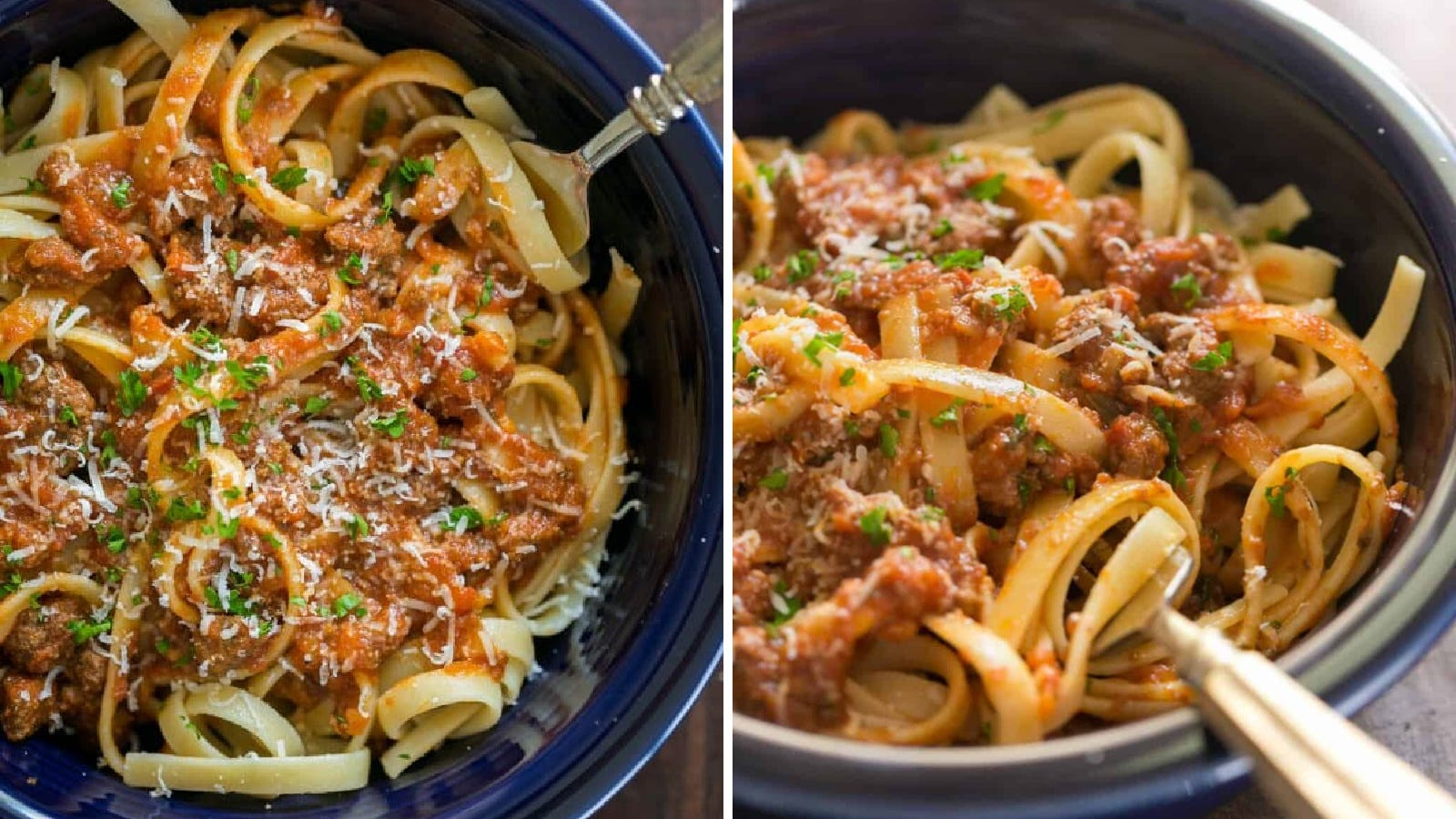 Two images of bolognese sauce topped over pasta ready to eat.