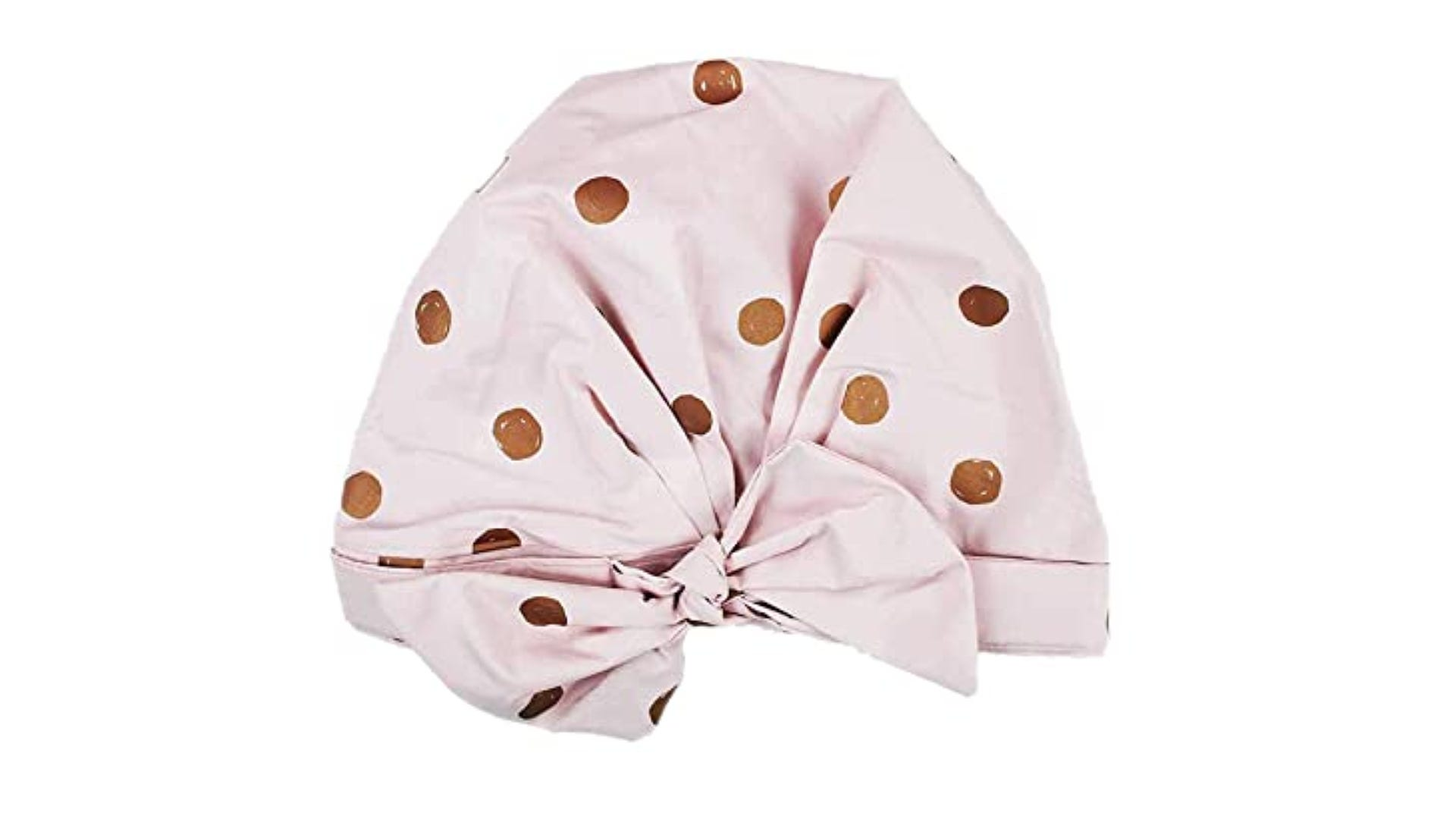 pink polka dot shower cap with accent bow
