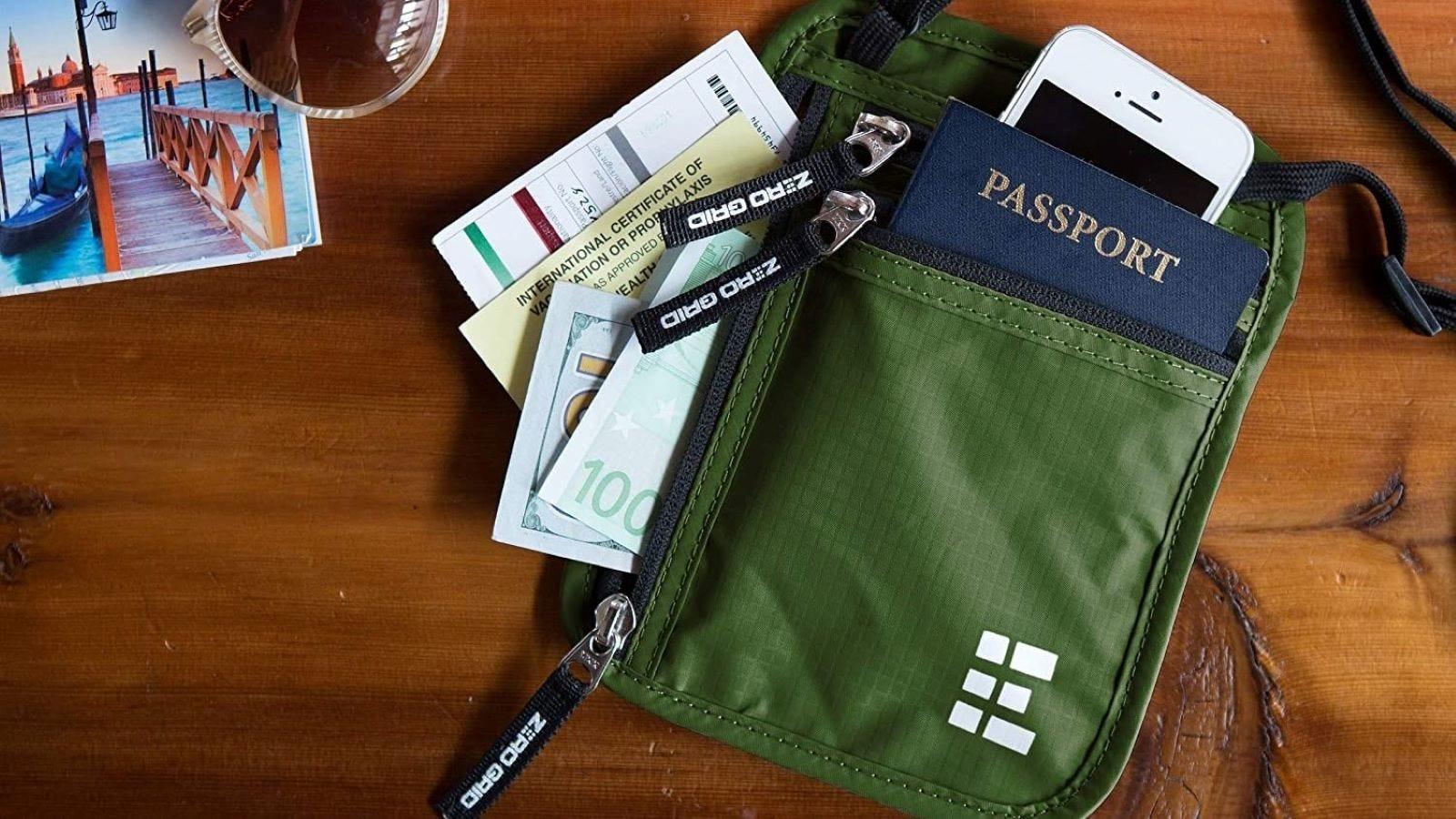 A passport neck wallet.