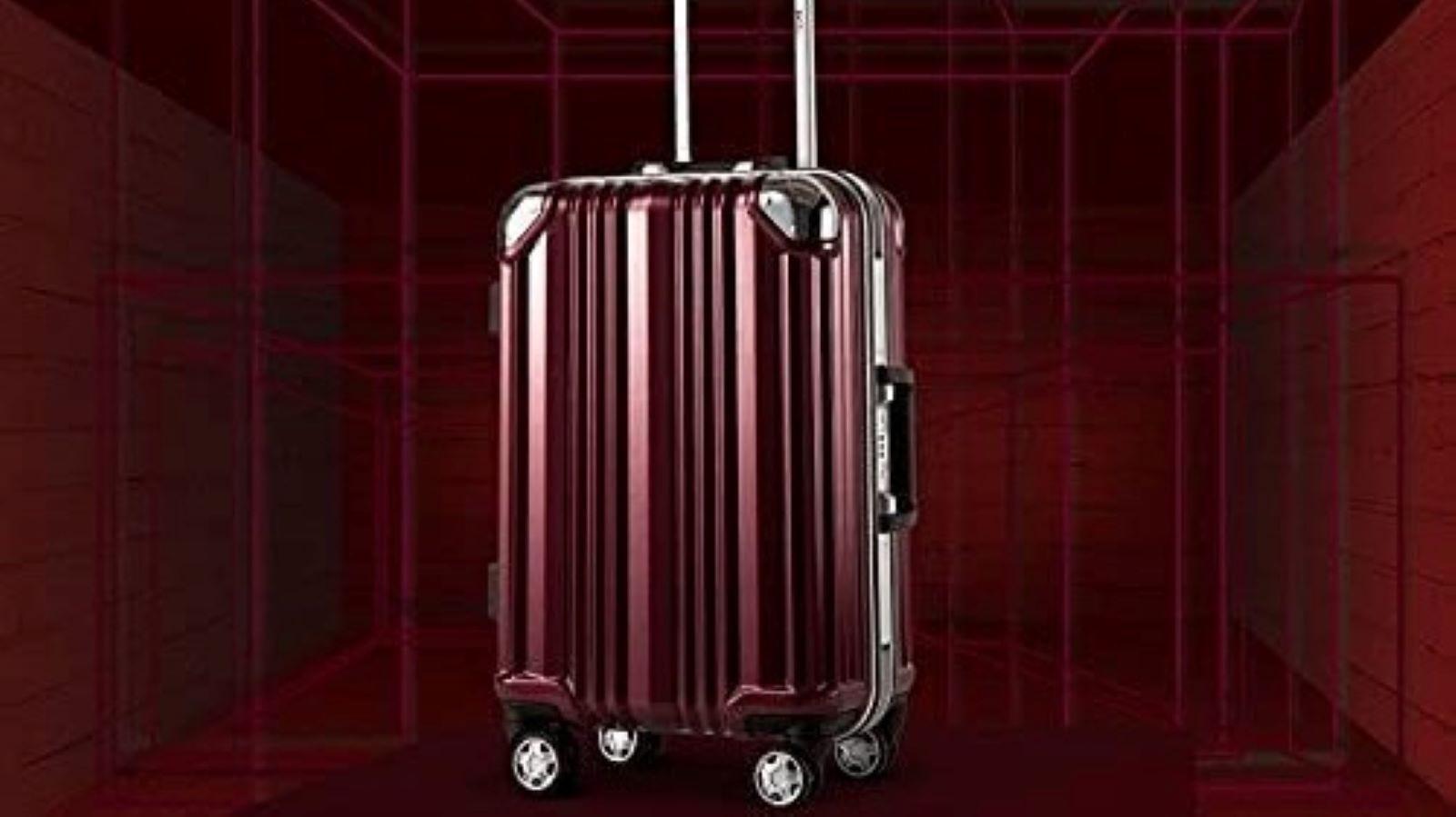 The Coolife aluminium-frame suitcase in wine.