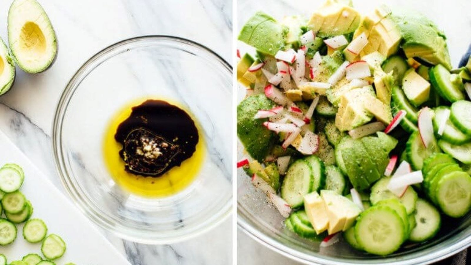 Olive oil, balsamic vinegar and garlic in a mixing bowl, and a finished cucumber salad.
