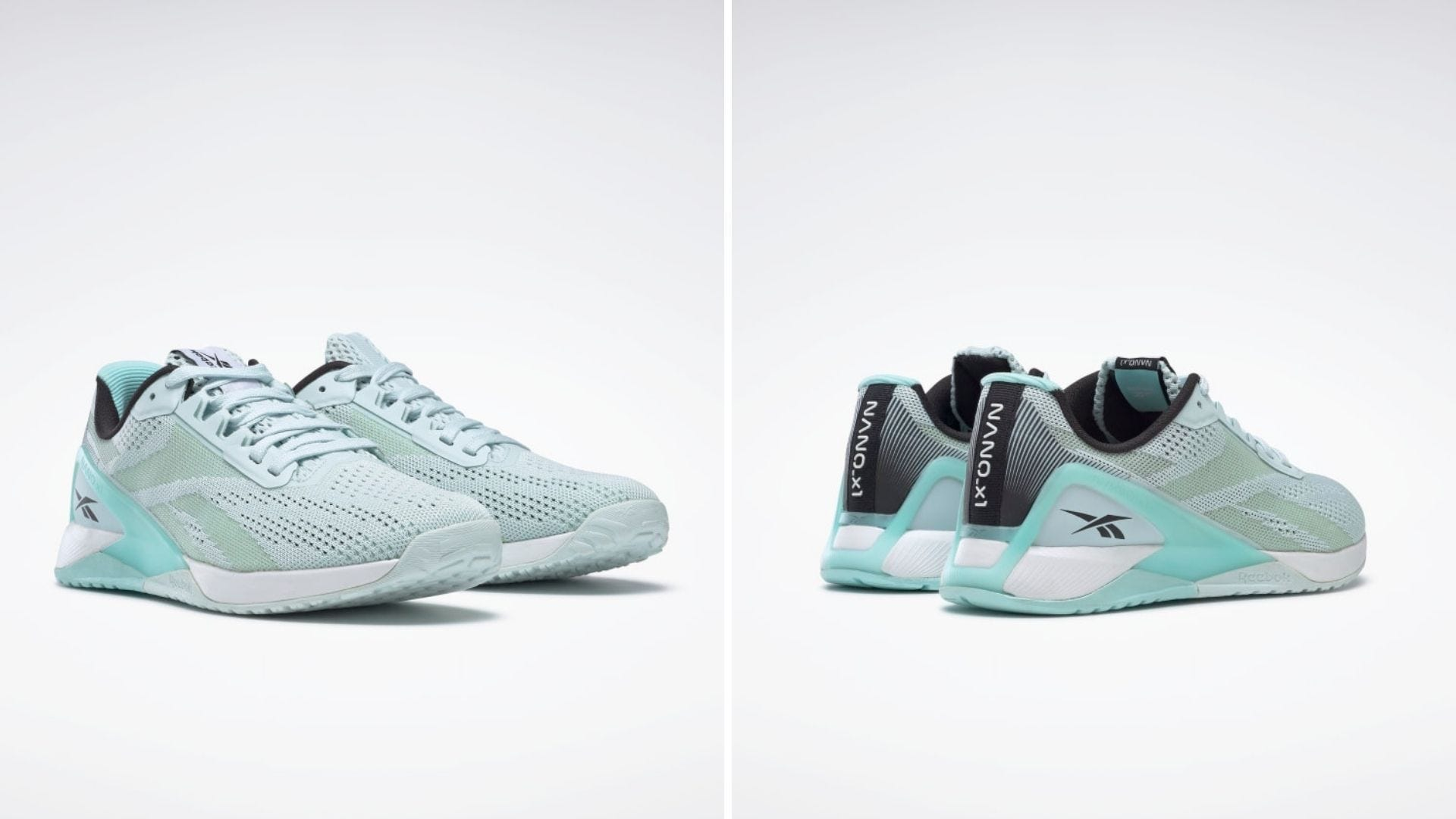 A pair of blue athletic shoes from the front and back
