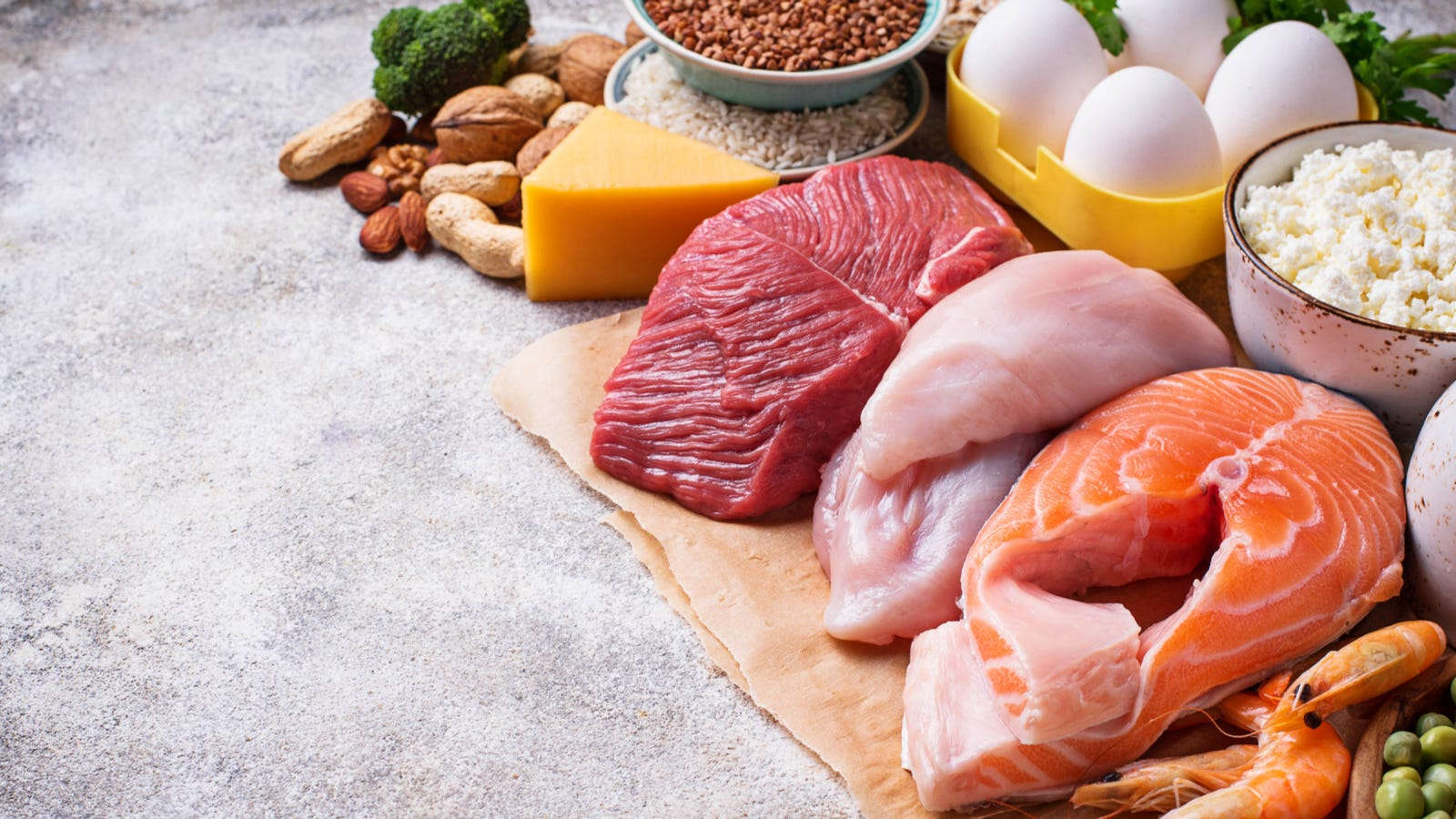 Perishable foods including raw meat, fish, eggs and various dairy.