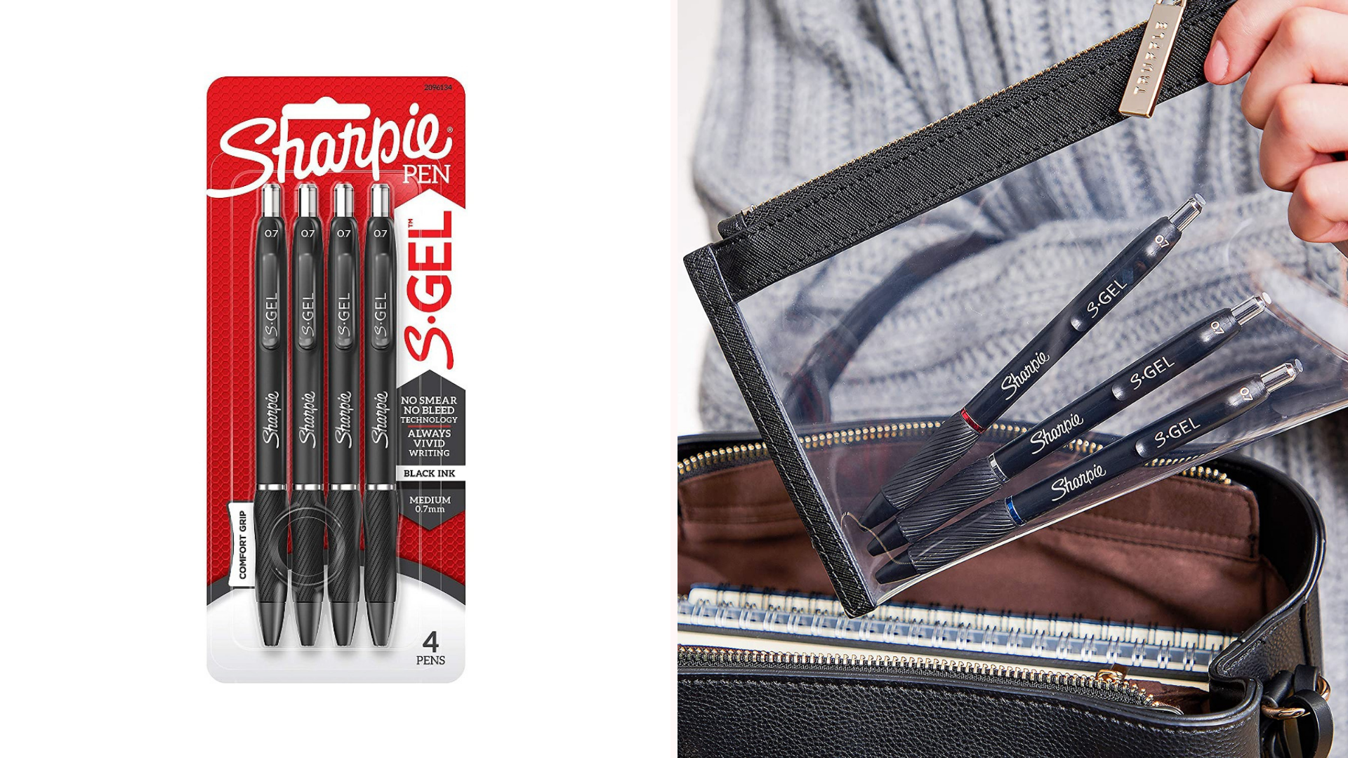 Three sharpie pens are inside a clear pencil bag.
