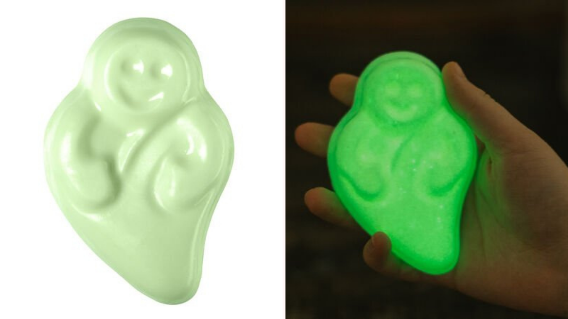 A soap shaped like a ghost glows in the dark.