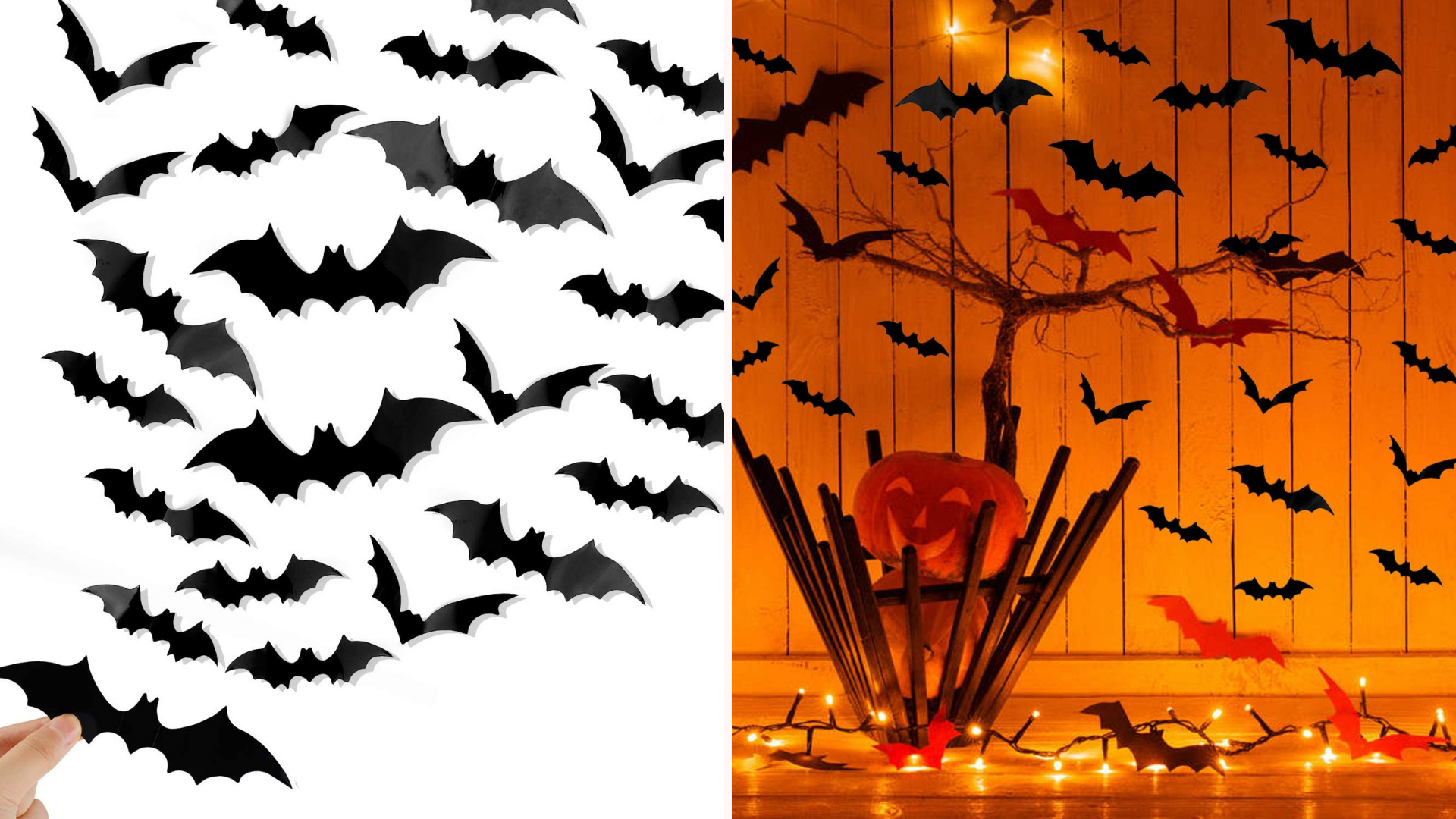 Bats are placed on a wall around a pumpkin.