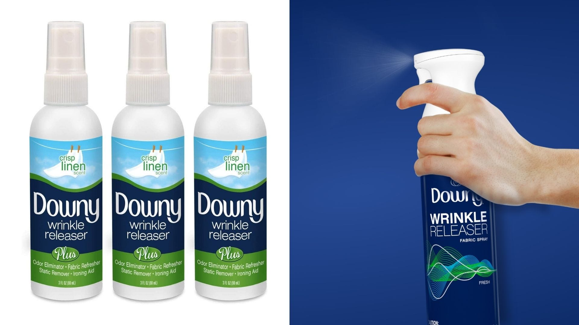 Three bottles of Downy wrinkle release spray and someone sprays a large bottle of it