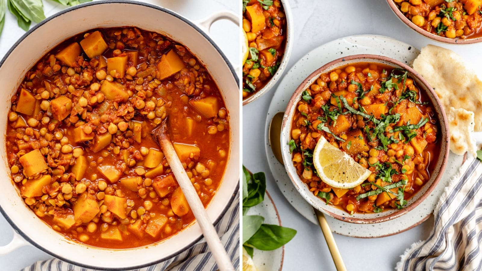 Two images displaying butternut squash chickpea Moroccan stew made by Ambitious Kitchen.