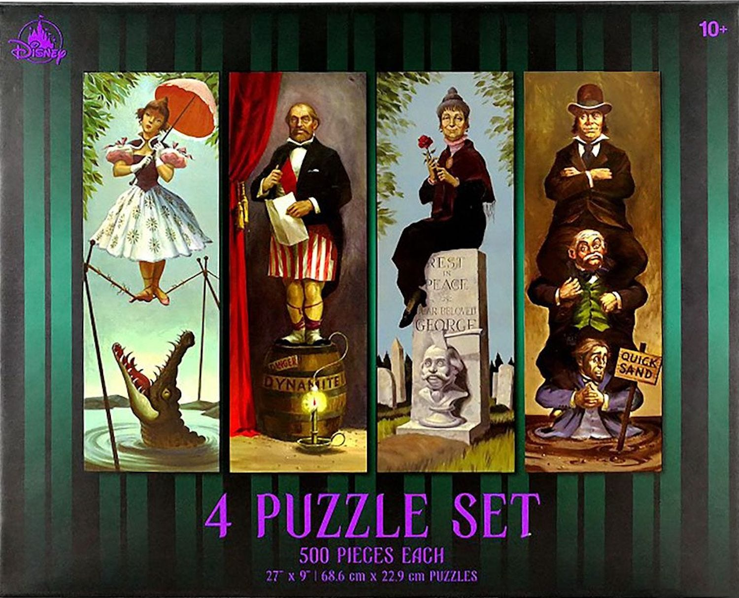 A puzzle box with the four stretching room portraits from the Haunted Mansion