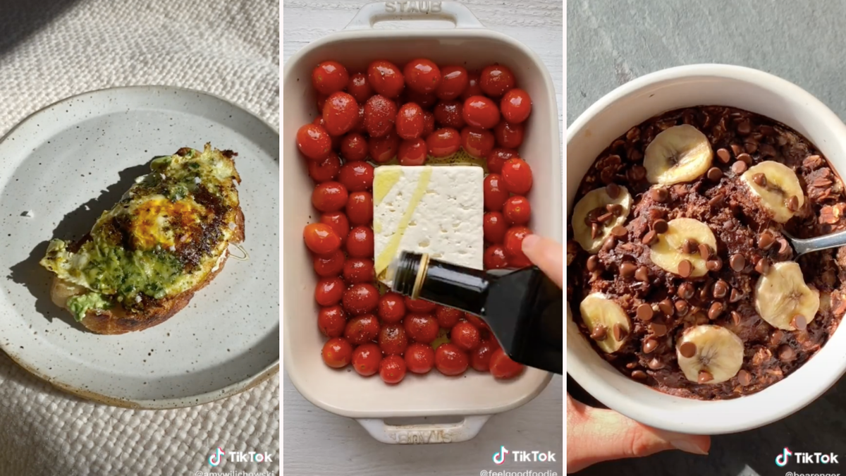 Pesto eggs on a plate, baked feta pasta in a casserole dish, baked oats topped with banana slices in a bowl.