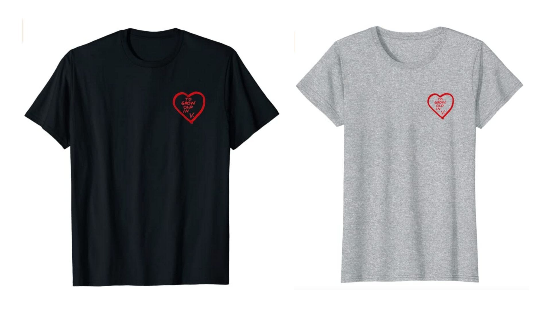 Black and gray shirts with a small heart on the upper righthand corner