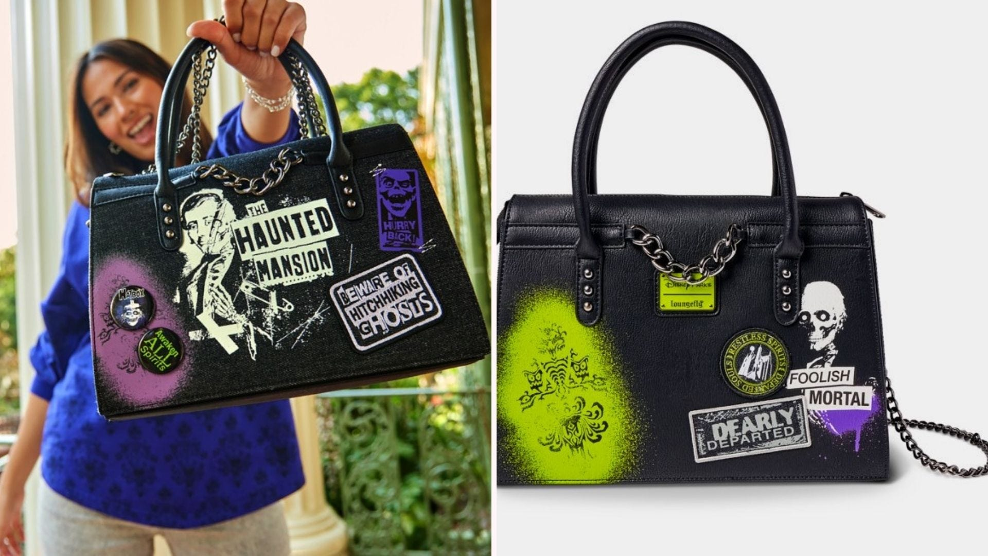 A woman holding a Haunted Mansion themed purse; the same purse on its own