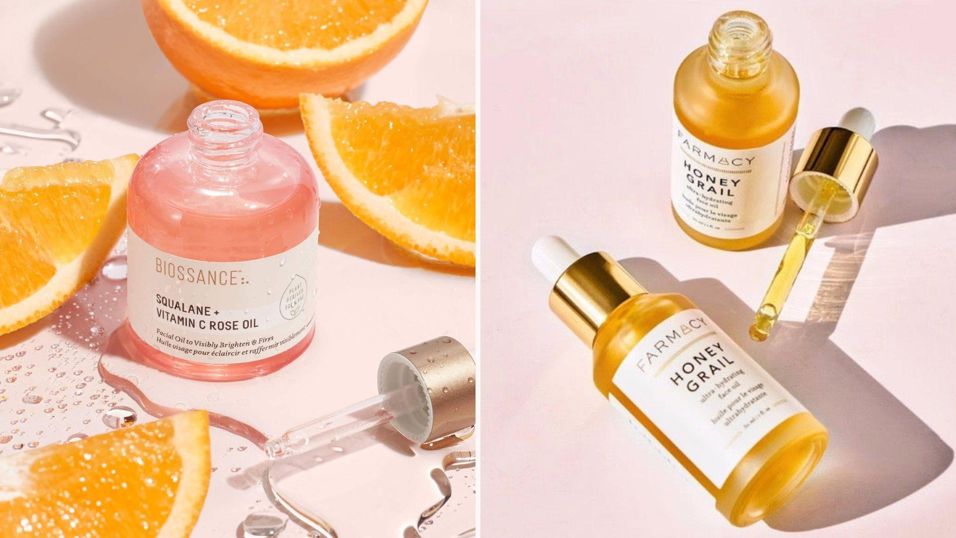 Biossance Squalane + Vitamin C Rose Oil and Farmacy Honey Grail.