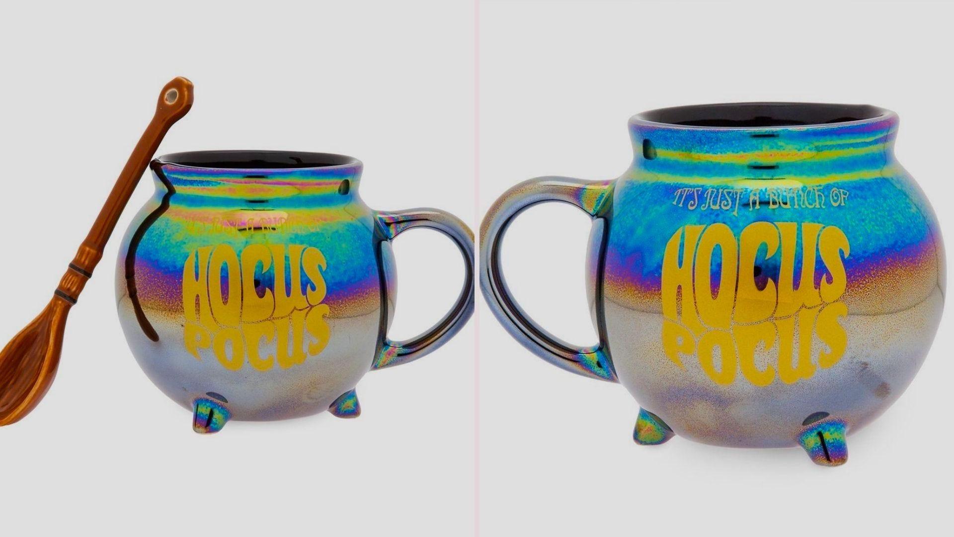 Both sides of an iridescent cauldron-shaped Hocus Pocus coffee mug