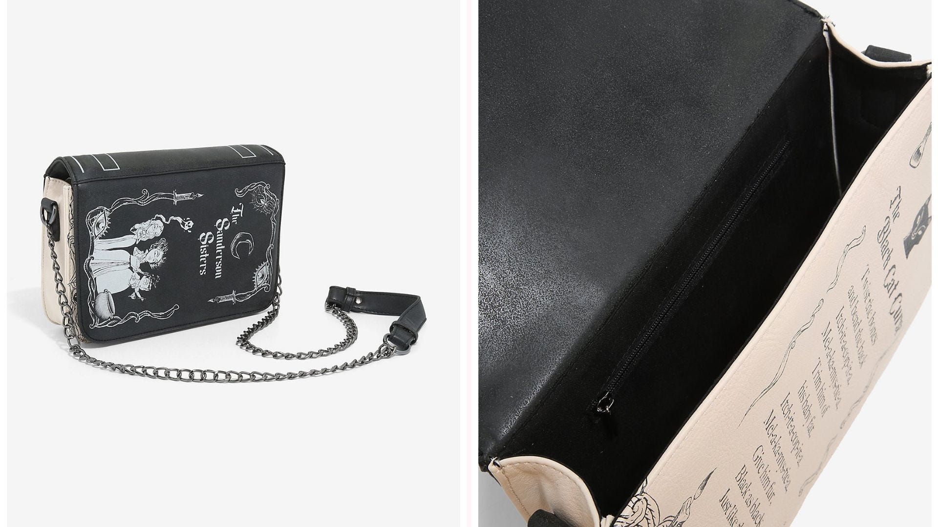 """Crossbody purse with Sanderson Sisters imagery on the front; interior view showing a """"spell"""" in writing"""