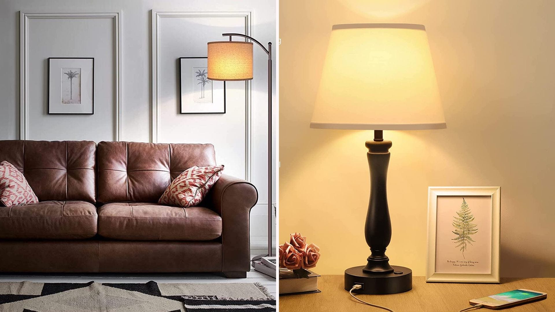 A couch with a floor lamp next to it; a table lamp
