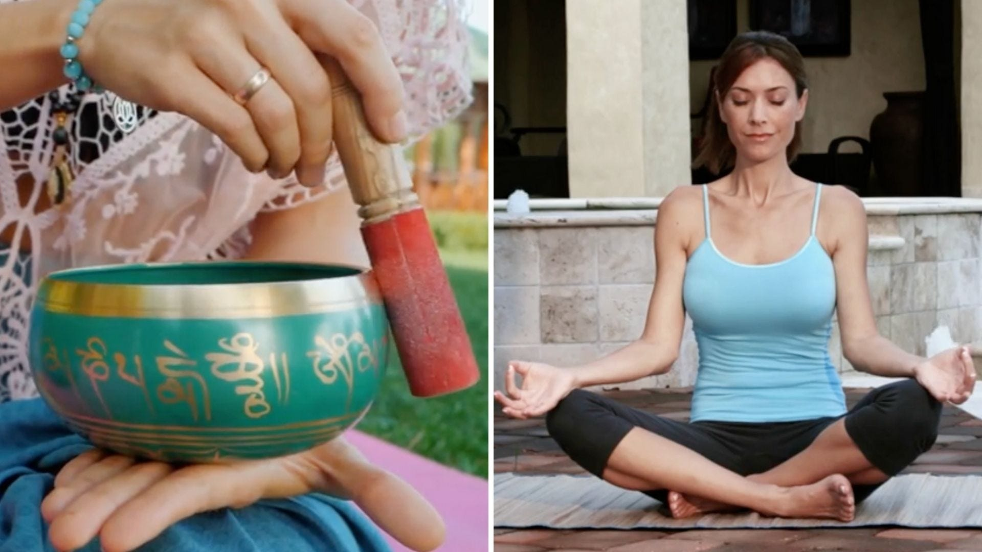 Someone holds a rod to a decorated bowl and someone meditates