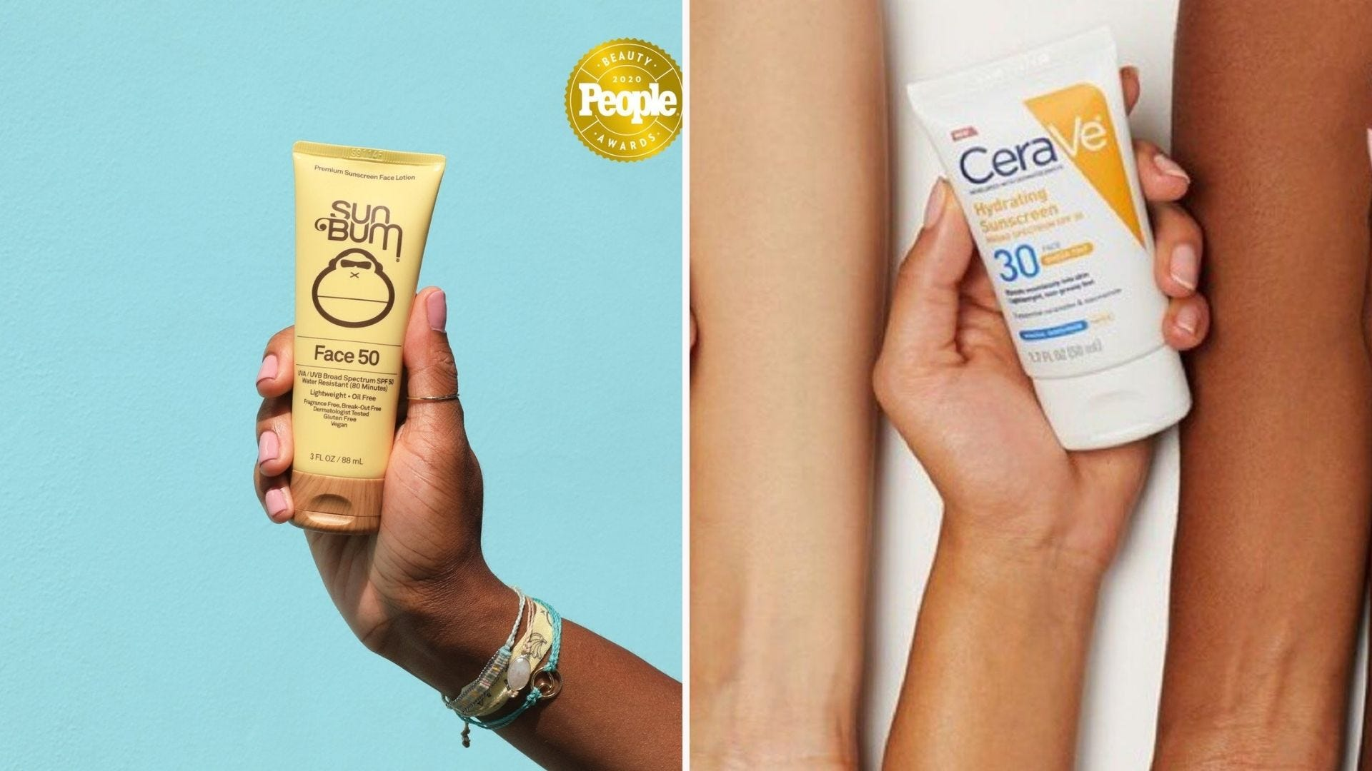 A hand holding a yellow tube of sunscreen; a hand holding a tube of sunscreen against two arms