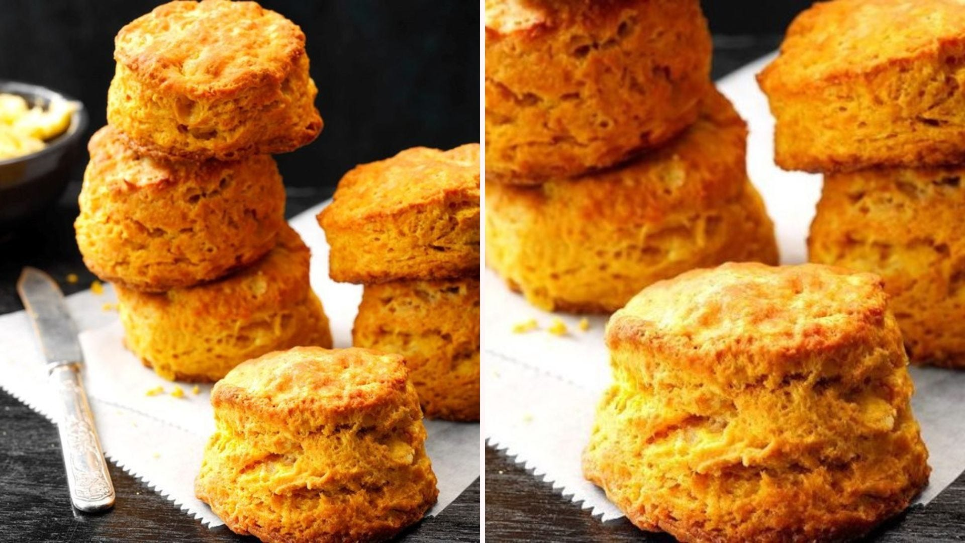 Stacks of pumpkin buttermilk biscuits on parchment paper on a countertop