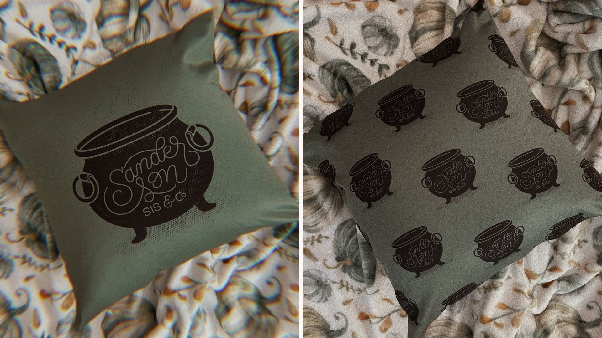 A green pillow with a large cauldon image on the front; the back of the same pillow with a smaller cauldron print
