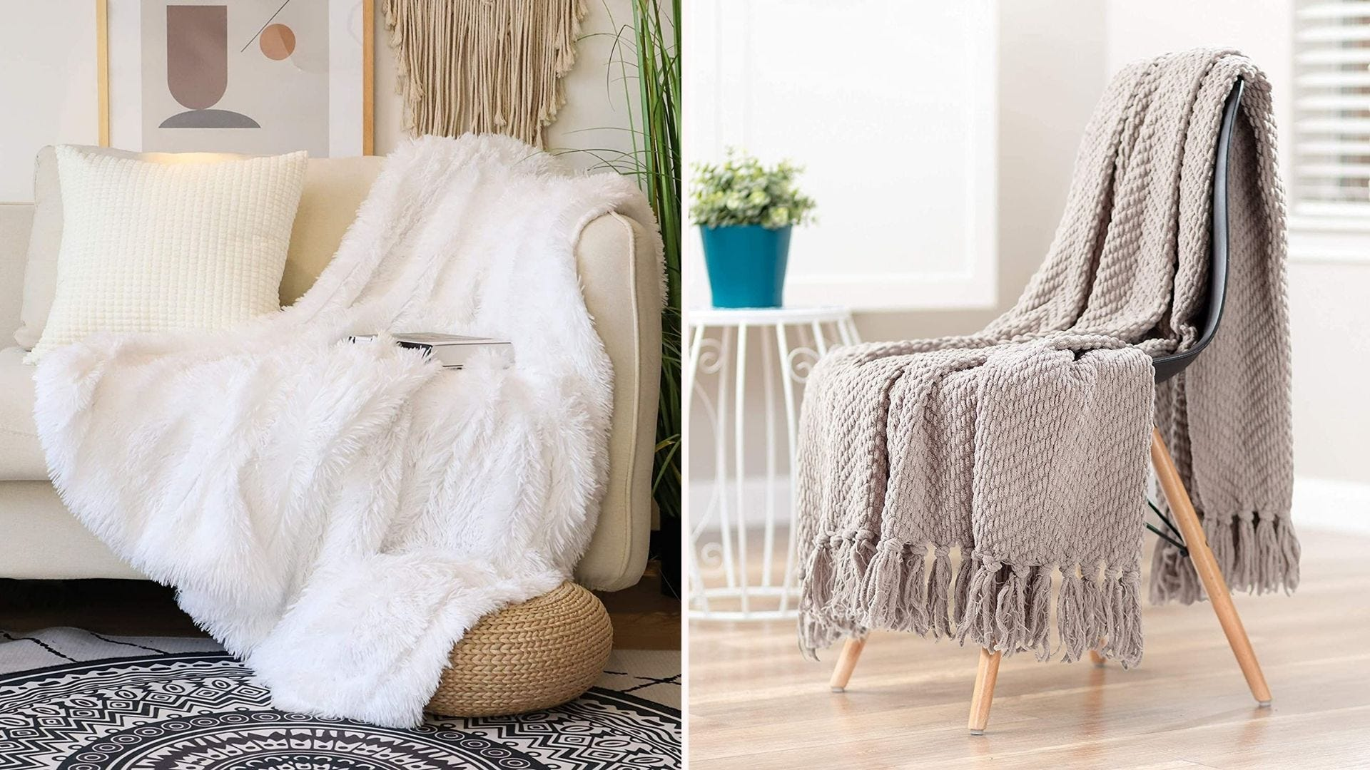 A cream couch with a white faux fur throw; a gray knit throw on a wooden chair