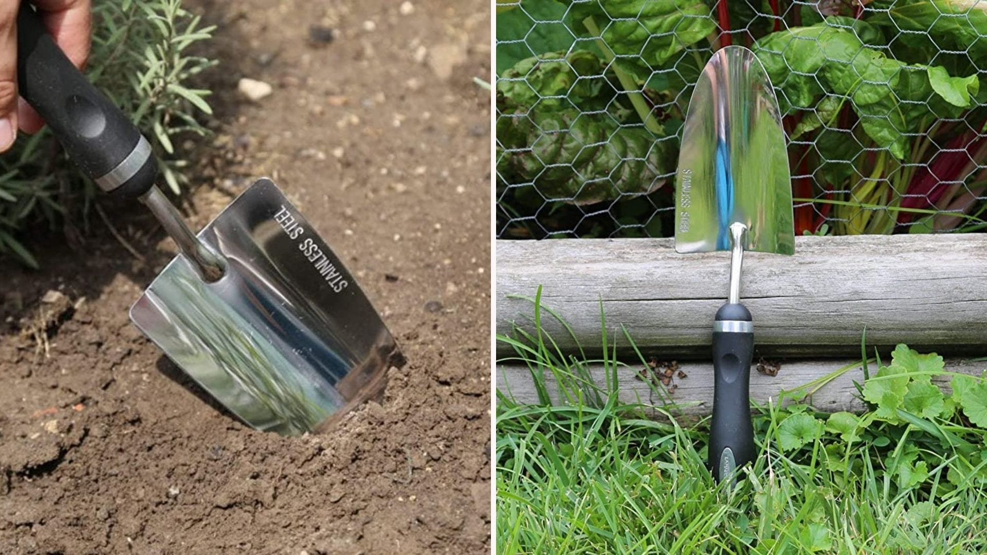 A trowel in the dirt; a trowel propped up against a chicken wire fence
