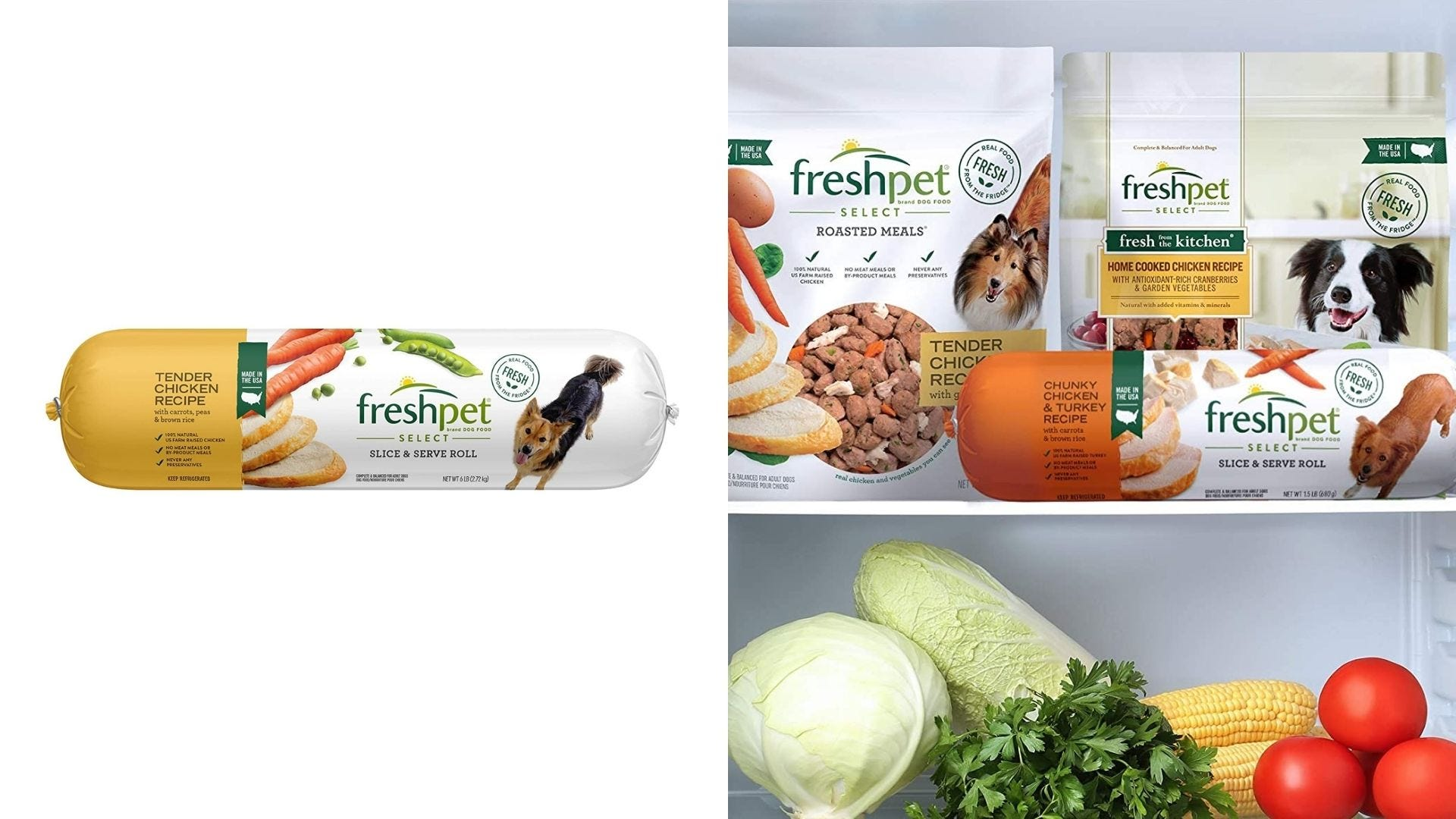 A roll of fresh dog food and packaged of fresh dog food in a refrigerator