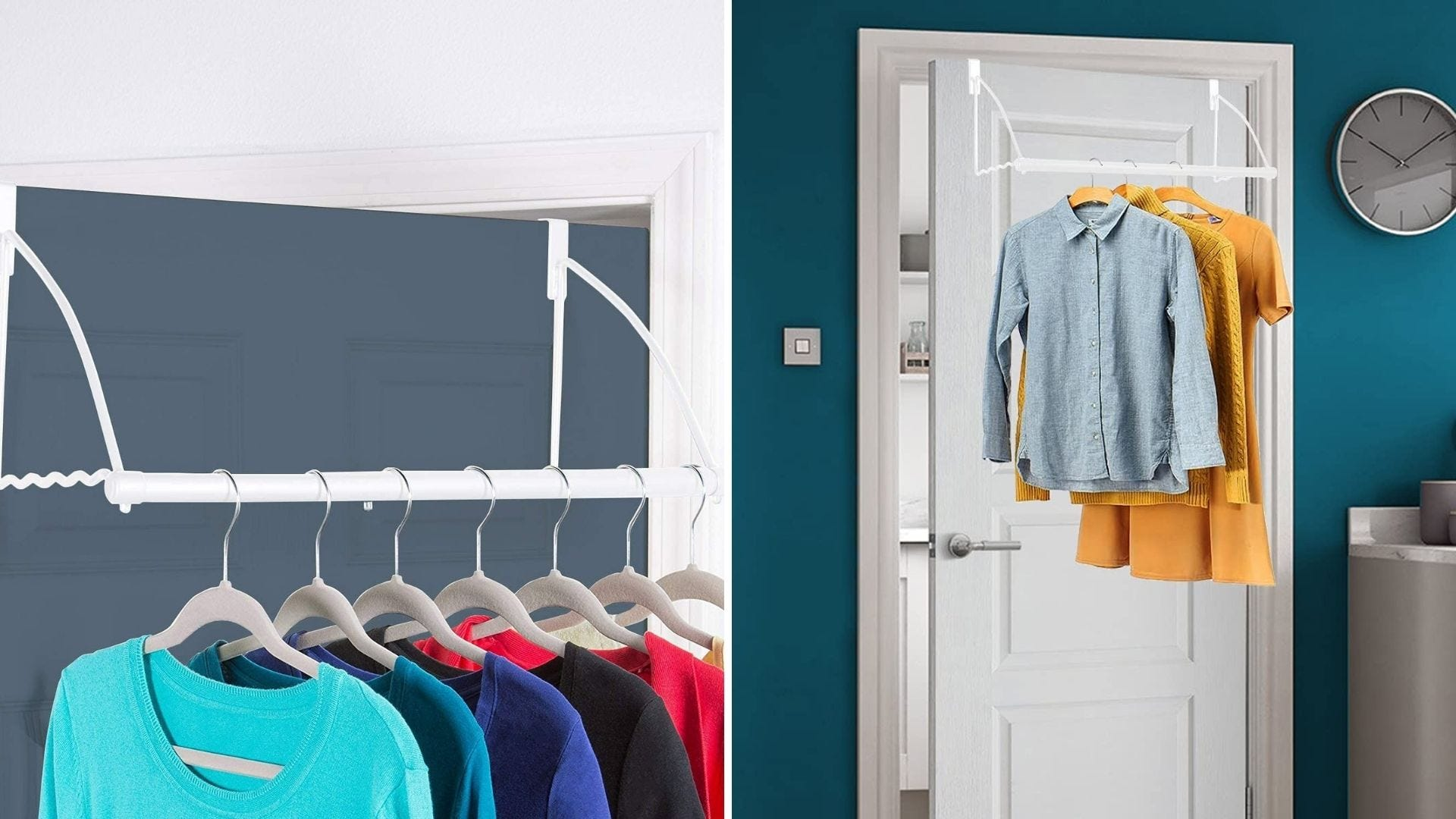 Clothes hang on a rack that hangs on the back of a door