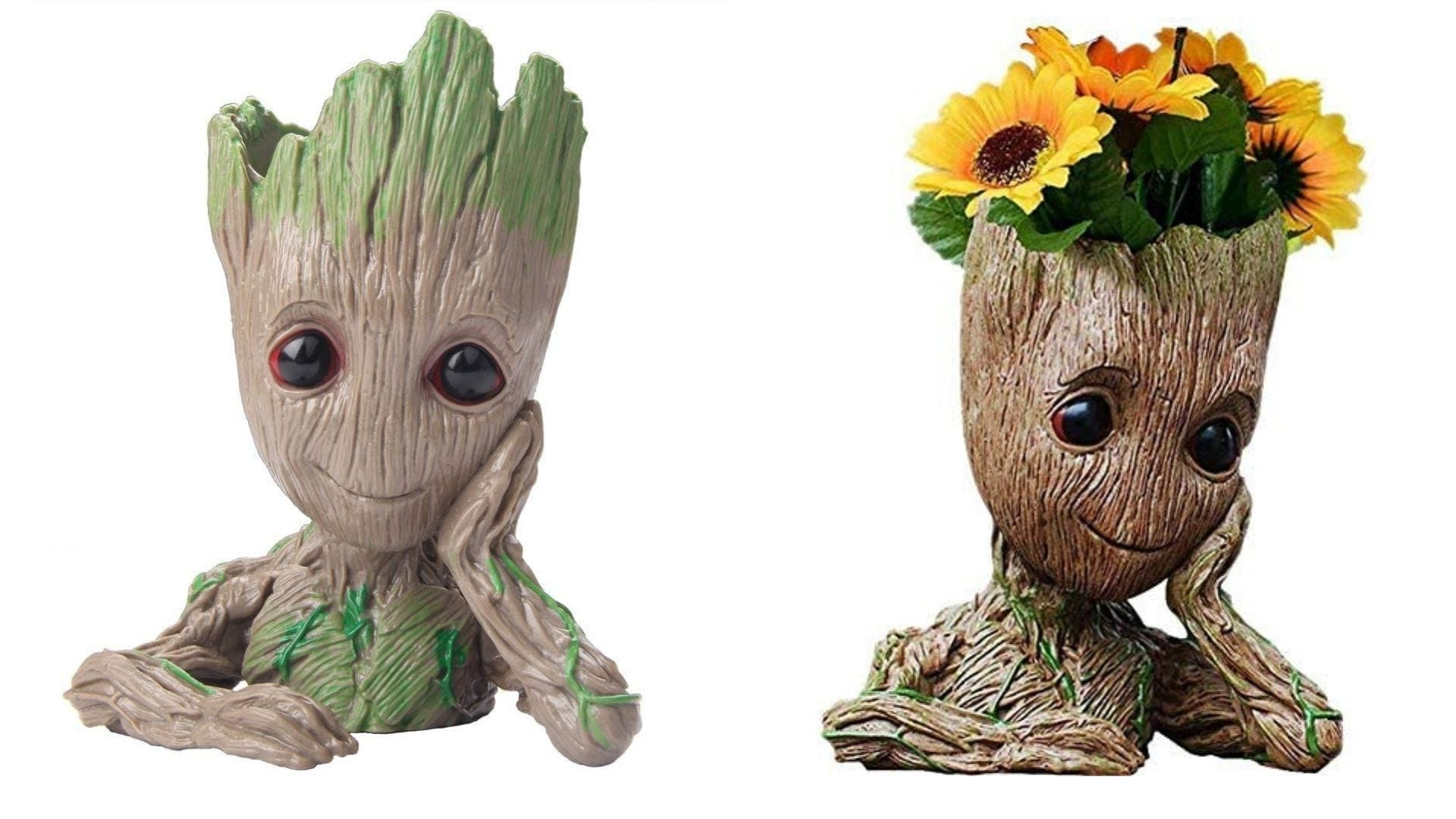 Two angles of a Baby Groot flower pot