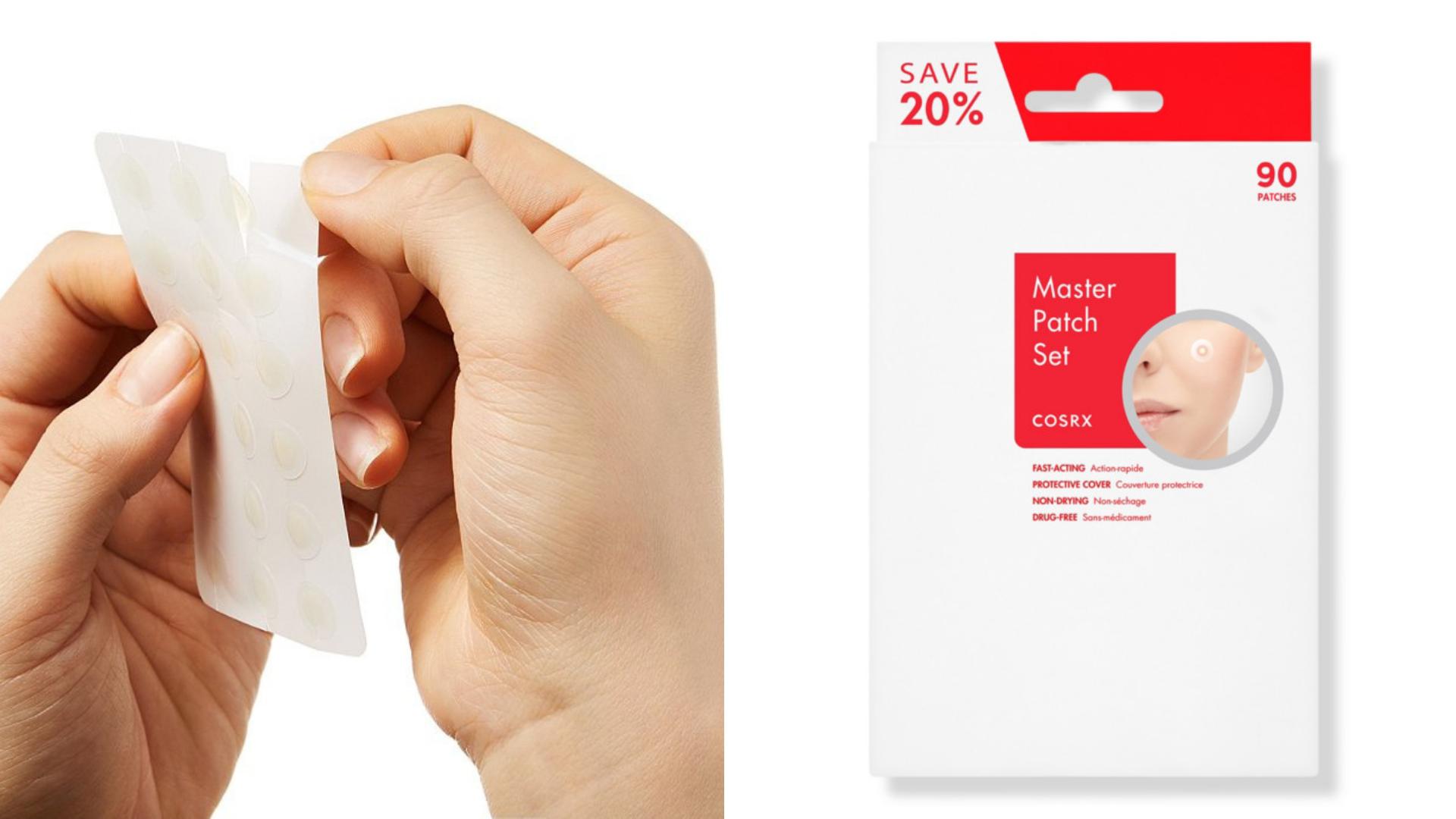 Hands peel off a zit sticker from a clear sheet.