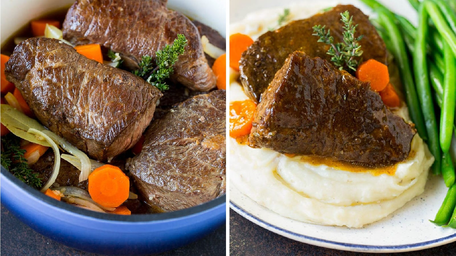 Two images of braised short ribs cooked in a blue enameled Dutch oven by Dinner at the Zoo.